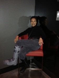 me sitting n red chair
